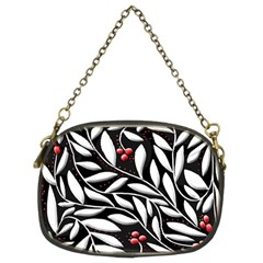 Black, red, and white floral pattern Chain Purses (Two Sides)