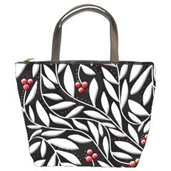 Black, red, and white floral pattern Bucket Bags