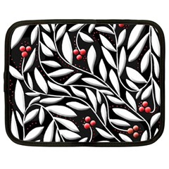Black, red, and white floral pattern Netbook Case (XL)