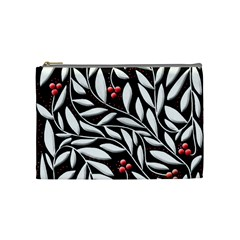 Black, red, and white floral pattern Cosmetic Bag (Medium)