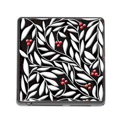 Black, red, and white floral pattern Memory Card Reader (Square)