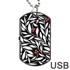 Black, red, and white floral pattern Dog Tag USB Flash (One Side)