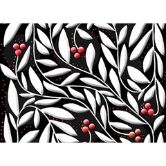 Black, red, and white floral pattern Birthday Cake 3D Greeting Card (7x5)