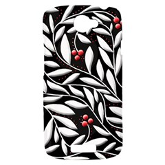 Black, red, and white floral pattern HTC One S Hardshell Case