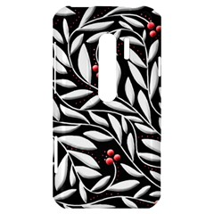 Black, red, and white floral pattern HTC Evo 3D Hardshell Case