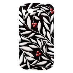 Black, red, and white floral pattern HTC Desire S Hardshell Case