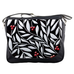 Black, red, and white floral pattern Messenger Bags