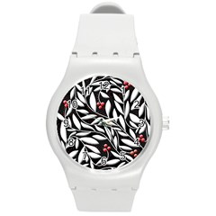 Black, red, and white floral pattern Round Plastic Sport Watch (M)