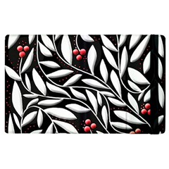 Black, red, and white floral pattern Apple iPad 3/4 Flip Case