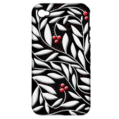 Black, red, and white floral pattern Apple iPhone 4/4S Hardshell Case (PC+Silicone)
