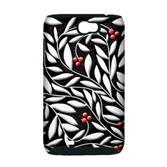 Black, red, and white floral pattern Samsung Galaxy Note 2 Hardshell Case (PC+Silicone)