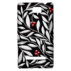 Black, red, and white floral pattern HTC 8S Hardshell Case