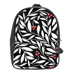 Black, red, and white floral pattern School Bags (XL)