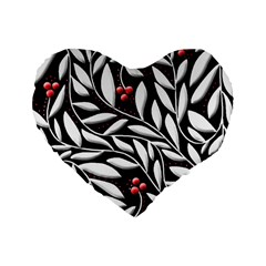 Black, red, and white floral pattern Standard 16  Premium Heart Shape Cushions