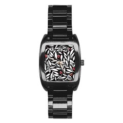 Black, red, and white floral pattern Stainless Steel Barrel Watch
