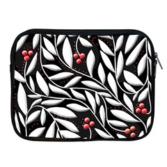 Black, red, and white floral pattern Apple iPad 2/3/4 Zipper Cases