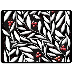 Black, red, and white floral pattern Double Sided Fleece Blanket (Large)