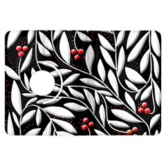 Black, red, and white floral pattern Kindle Fire HDX Flip 360 Case