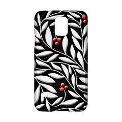Black, red, and white floral pattern Samsung Galaxy S5 Hardshell Case