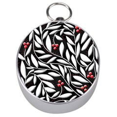 Black, red, and white floral pattern Silver Compasses
