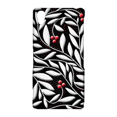 Black, red, and white floral pattern Sony Xperia Z2