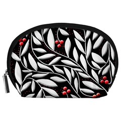 Black, red, and white floral pattern Accessory Pouches (Large)