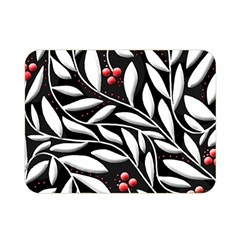 Black, red, and white floral pattern Double Sided Flano Blanket (Mini)