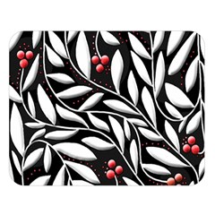 Black, red, and white floral pattern Double Sided Flano Blanket (Large)