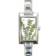 Green decorative plant Rectangle Italian Charm Watch