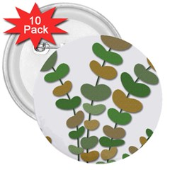 Green decorative plant 3  Buttons (10 pack)