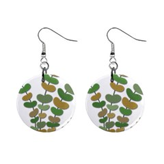 Green decorative plant Mini Button Earrings