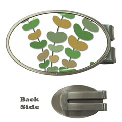 Green decorative plant Money Clips (Oval)