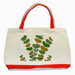 Green decorative plant Classic Tote Bag (Red)