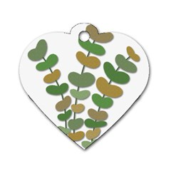 Green decorative plant Dog Tag Heart (One Side)