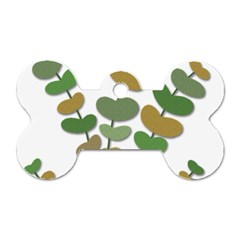 Green decorative plant Dog Tag Bone (Two Sides)