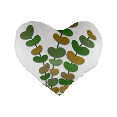 Green decorative plant Standard 16  Premium Flano Heart Shape Cushions