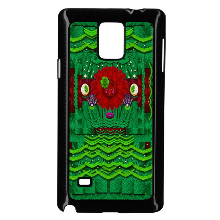 Flower girl with sunrose in her hair and panda bears Samsung Galaxy Note 4 Case (Black)