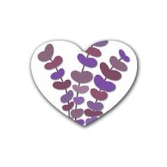 Purple decorative plant Rubber Coaster (Heart)