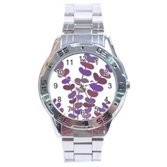 Purple decorative plant Stainless Steel Analogue Watch