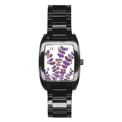 Purple decorative plant Stainless Steel Barrel Watch