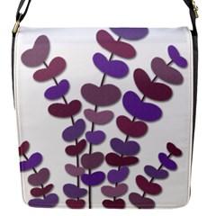 Purple decorative plant Flap Messenger Bag (S)