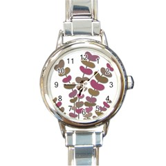 Magenta decorative plant Round Italian Charm Watch