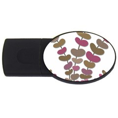 Magenta decorative plant USB Flash Drive Oval (1 GB)
