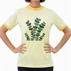 Blue decorative plant Women s Fitted Ringer T-Shirts