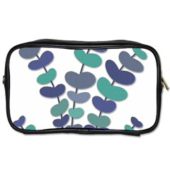 Blue decorative plant Toiletries Bags