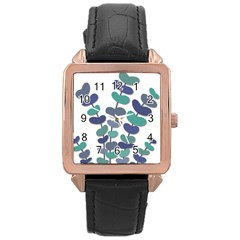 Blue decorative plant Rose Gold Leather Watch