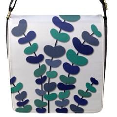 Blue decorative plant Flap Messenger Bag (S)