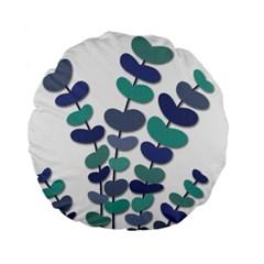 Blue decorative plant Standard 15  Premium Flano Round Cushions