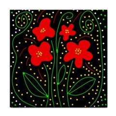 Red Flowers Tile Coasters
