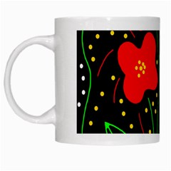 Red Flowers White Mugs